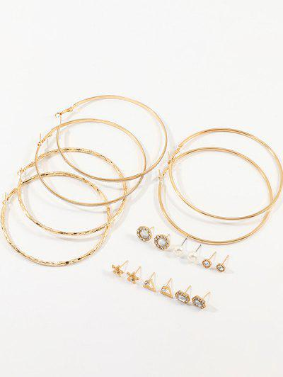 9Pairs Faux Pearl Geometric Earrings Set - Gold