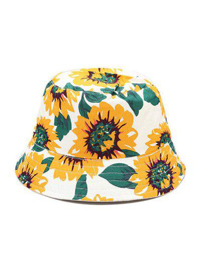 Sunflower Print Reversible Bucket Hat - Yellow