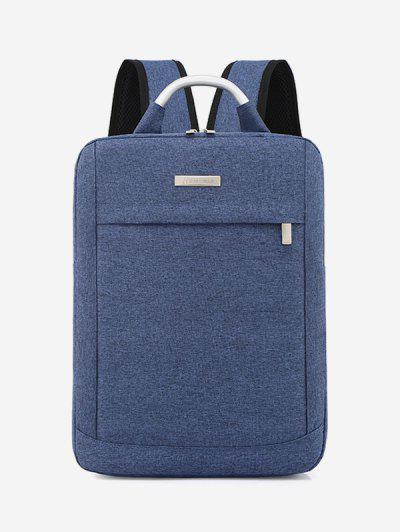 Solid Color Large Capacity Laptop Backpack - Blue