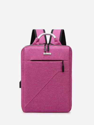 Pure Color Multi Zip Pockets Large Capacity Backpack - Pink