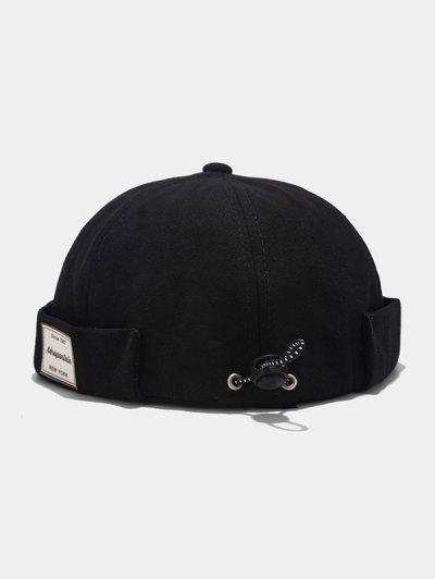 Letter Applique Drawstring Skullcap Hat - Black