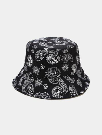 Paisley Print Casual Bucket Hat - Black