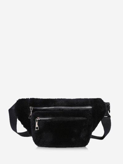 Pure Color Zip Pockets Adjustable Fluffy Chest Bag - Black