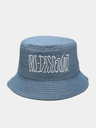 Casual Letter Embroidered Bucket Hat - Blue Gray