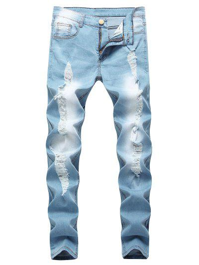 Distressed Stitching Faded Wash Ripped Jeans - Light Blue 34