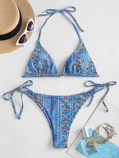 ZAFUL Bikini De Corte Alto Con Estampado Floral Bohemio - Azul S