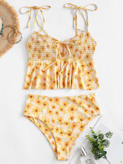 ZAFUL Sunflower Smocked Tie Shoulder Peplum Tankini Swimwear - Yellow L