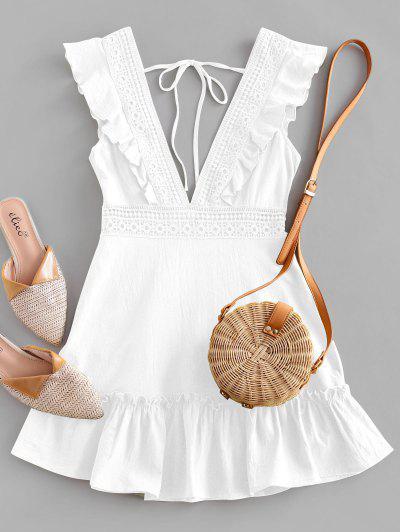 ZAFUL Plunge Crochet Panel Ruffle Dress - White S