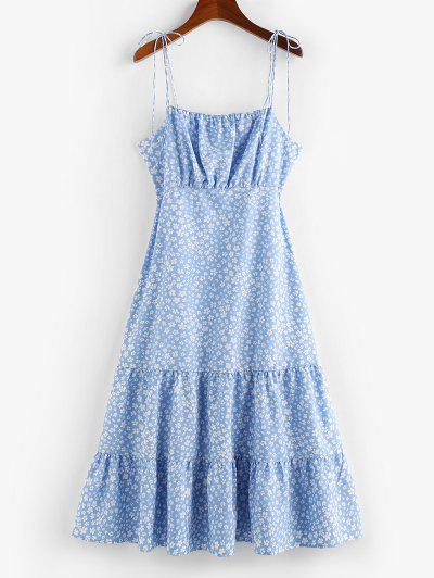 ZAFUL Ditsy Print Tie Shoulder Backless Flounce Hem Dress - Day Sky Blue M