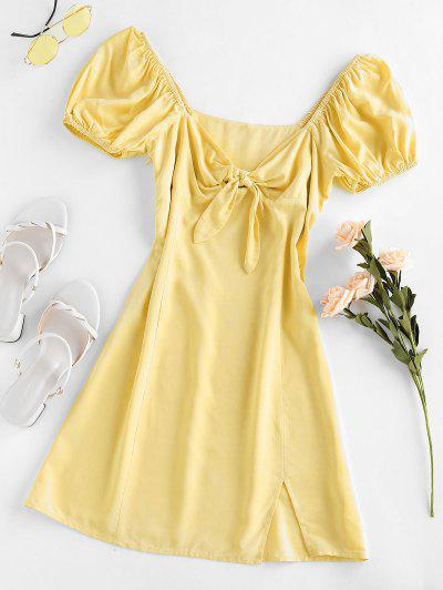 ZAFUL Knot Slit Milkmaid Dress - Lemon Chiffon S