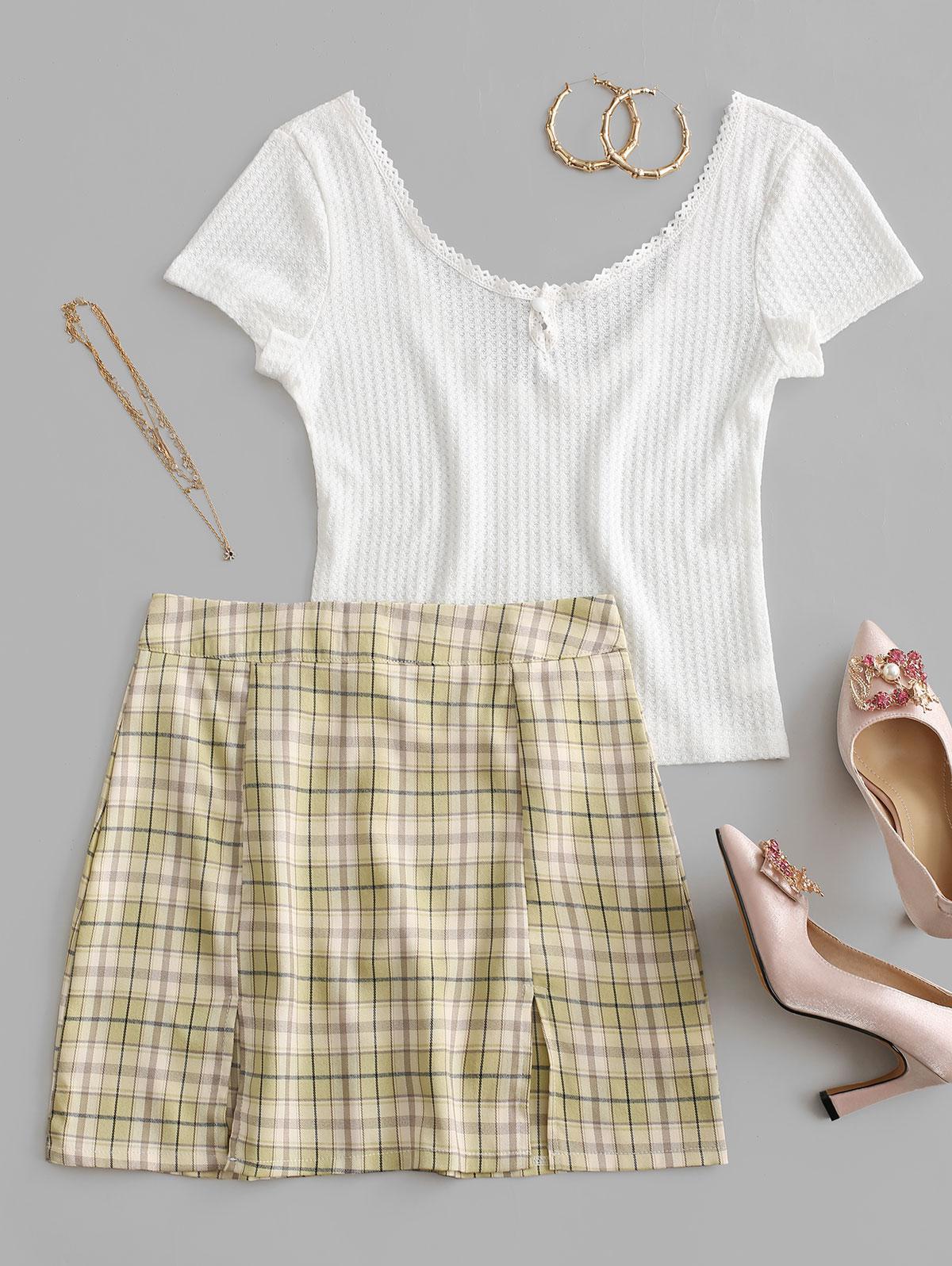 Crochet Plaid Backless Slit Mini Skirt