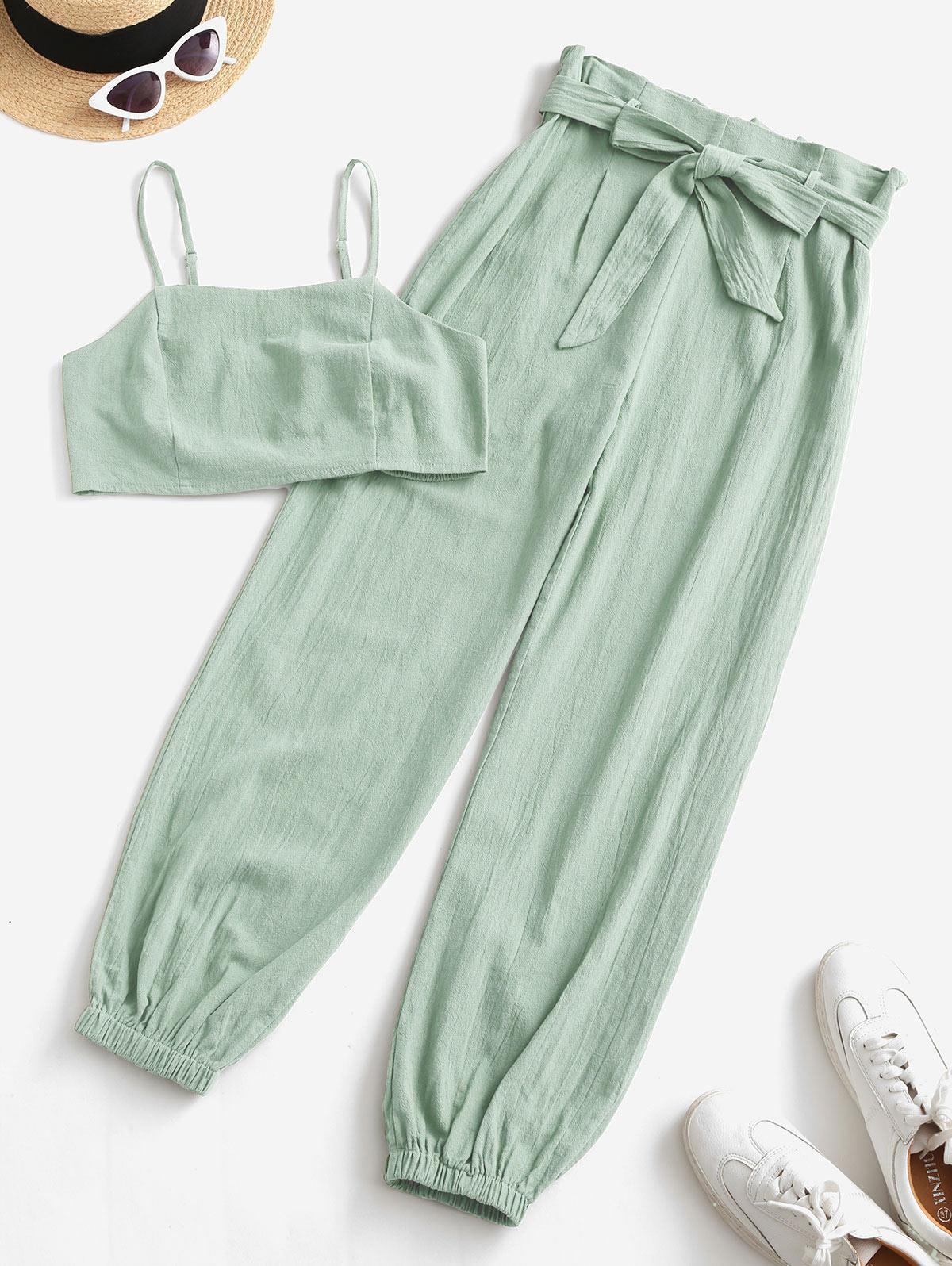 ZAFUL Smocked Back Cropped Belted Jogger Paperbag Pants Set
