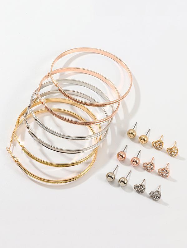 9Pairs Hoop Earrings Stud Earrings Set