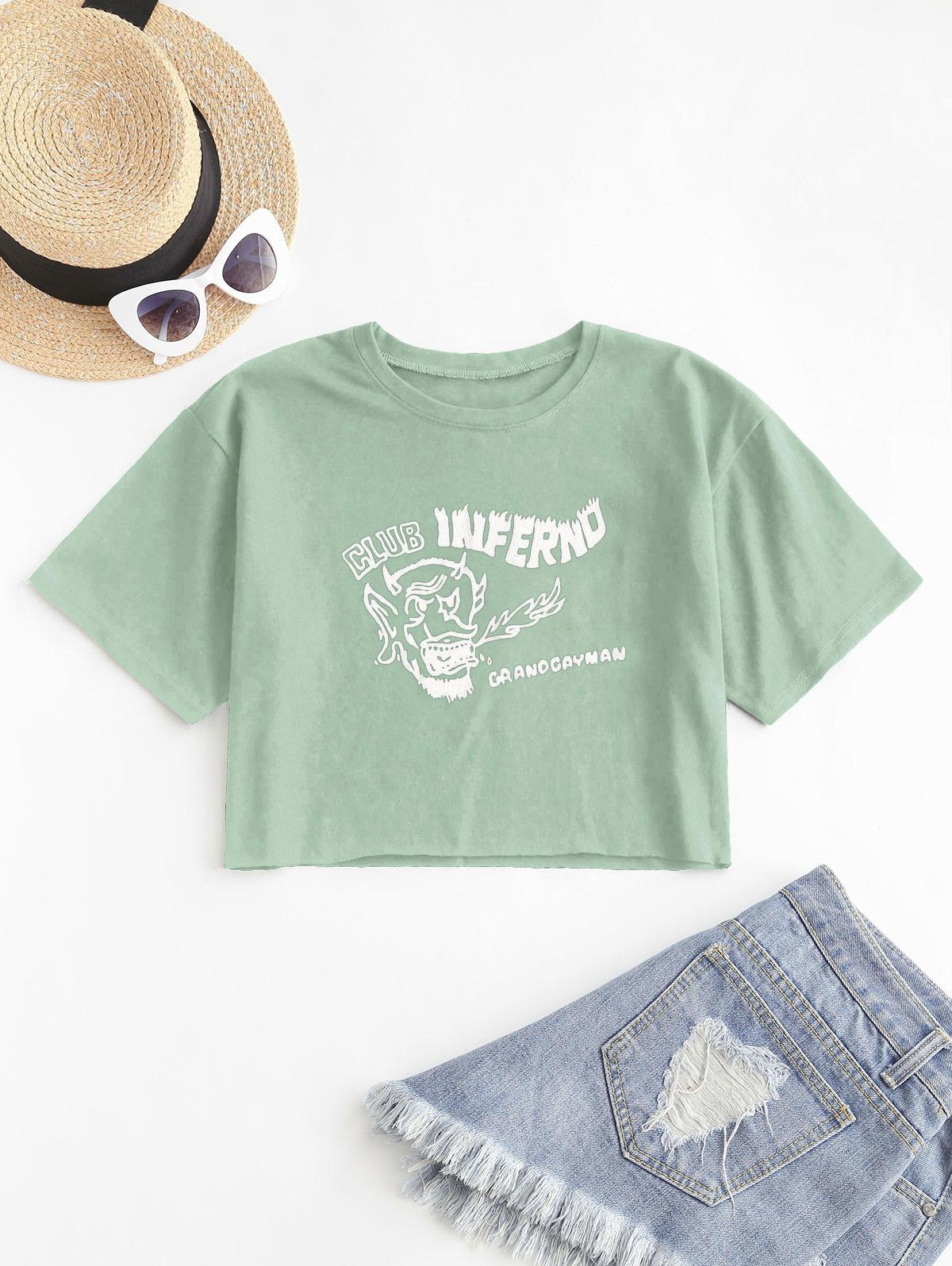 Cropped Graphic Front Basic Tee