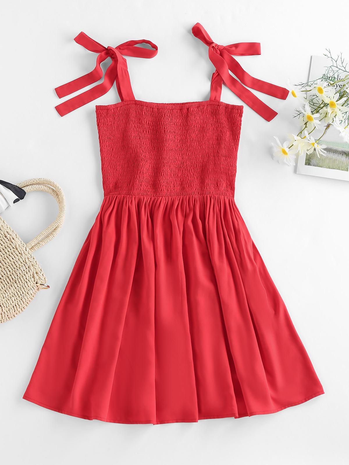 ZAFUL Smocked Tie Shoulder Mini Dress
