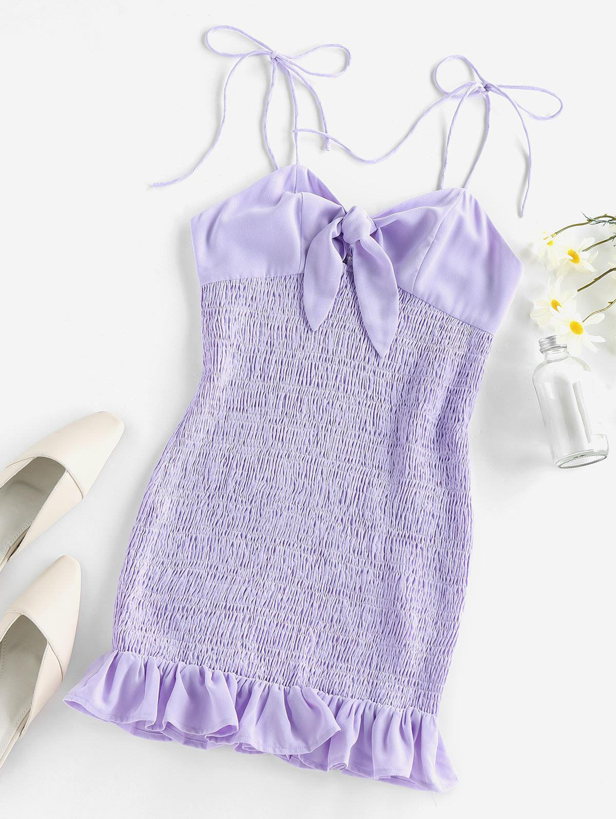 ZAFUL Tie Knot Ruffle Smocked Dress