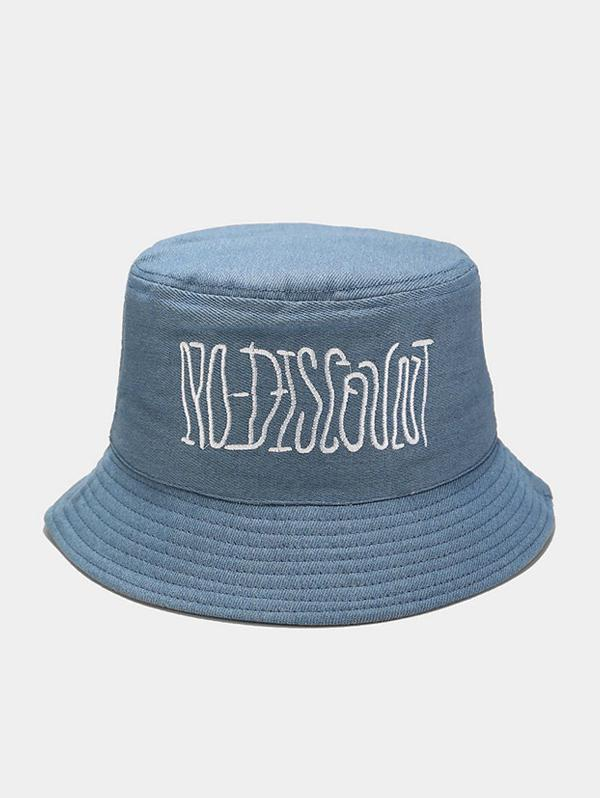 Casual Letter Embroidered Bucket Hat