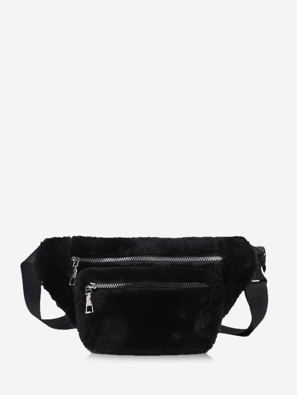 Pure Color Zip Pockets Adjustable Fluffy Chest Bag