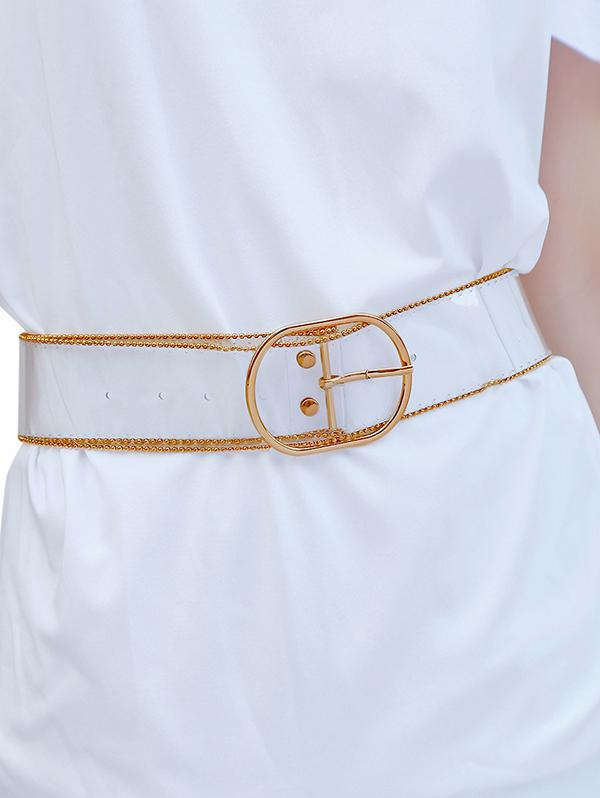 Chain Embellished Transparent Waist Belt