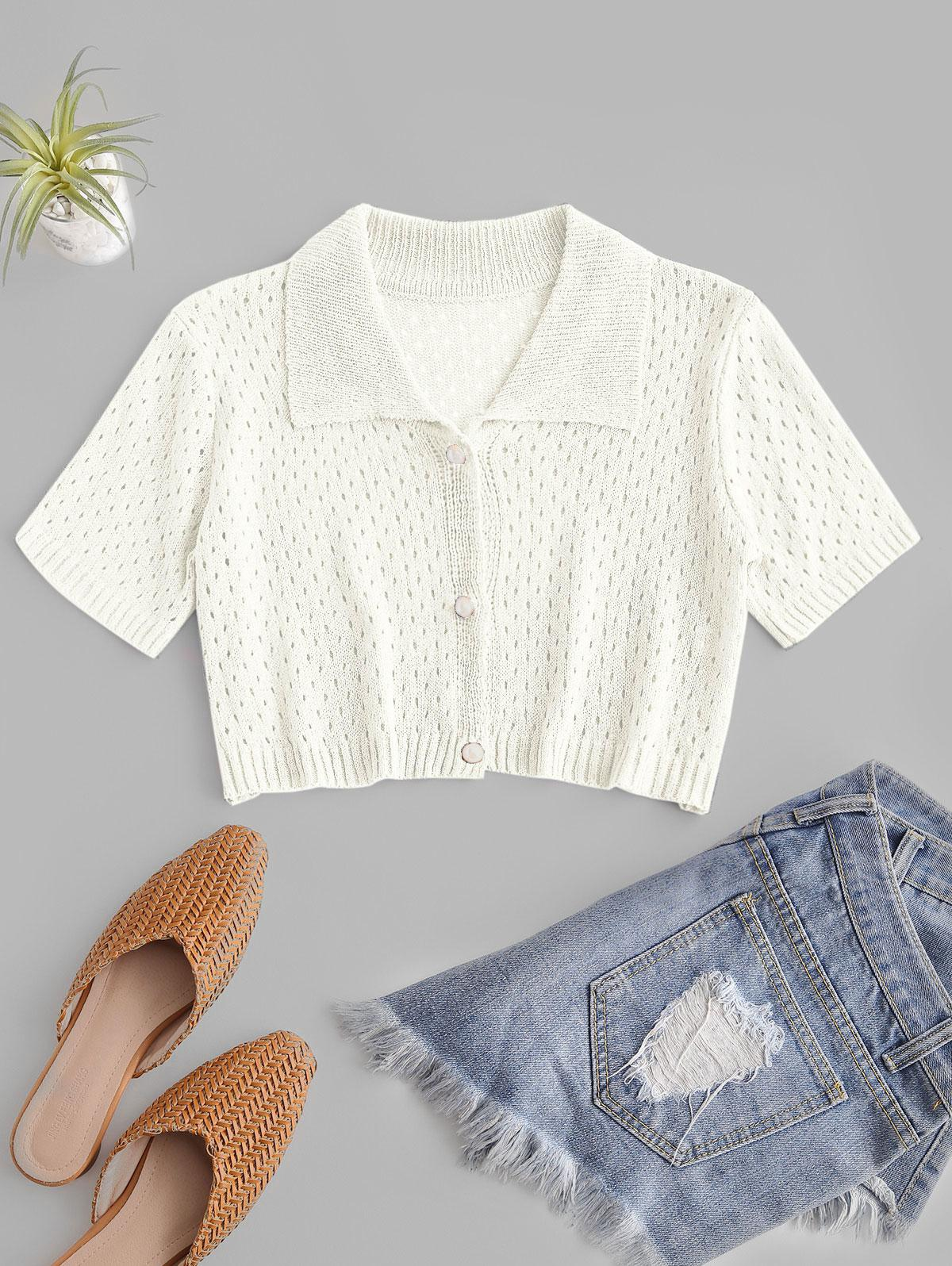 Eyelet Pearly Button Up Knitted Top