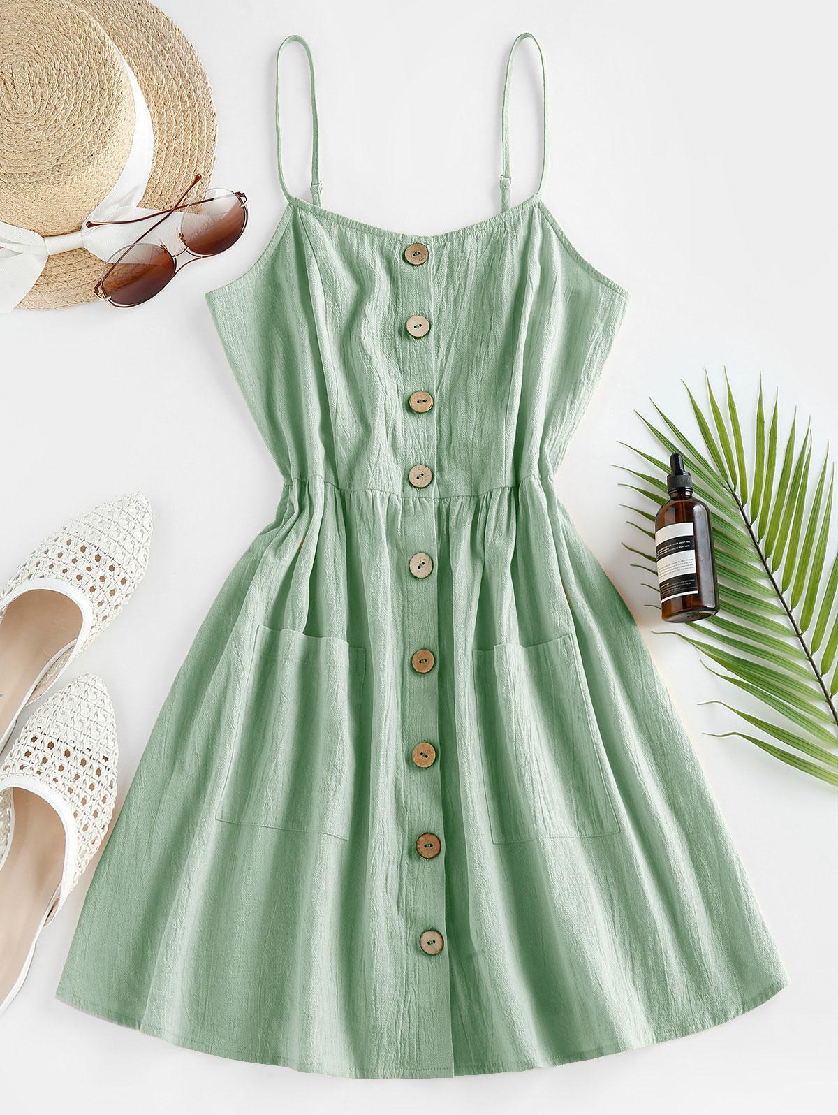 ZAFUL Button Up Shirred Cami Pocket Dress