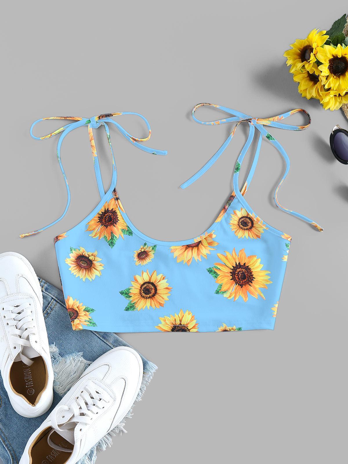 ZAFUL Sunflower Tie Shoulder Crop Cami Top