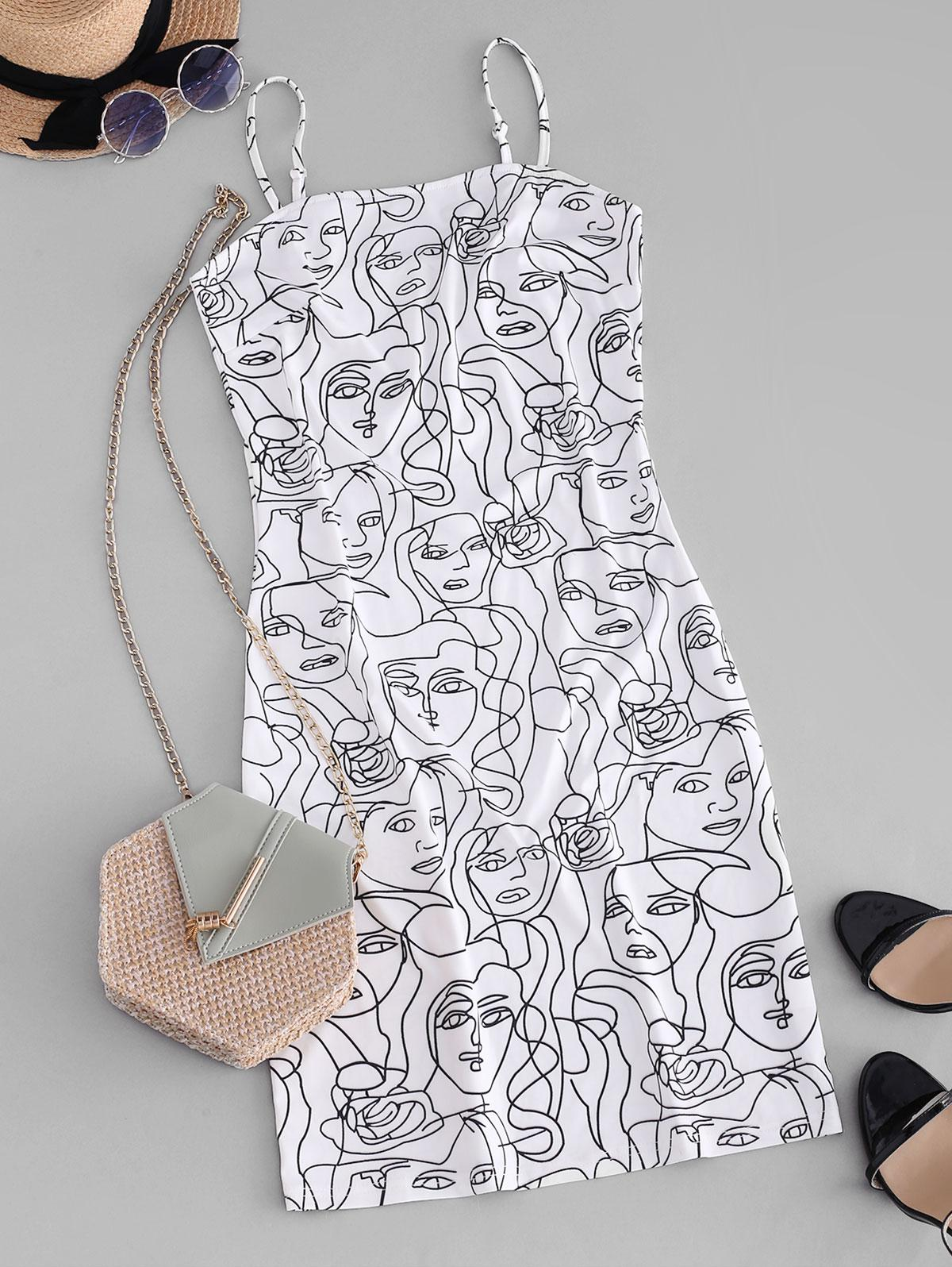 ZAFUL Figure Sketch Print Cami Bodycon Dress