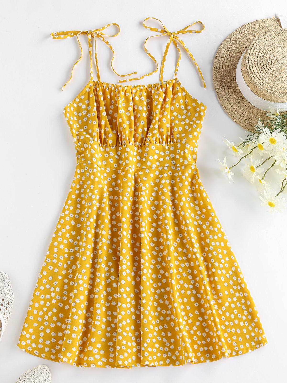 ZAFUL Tie  Ditsy Print Cami Dress