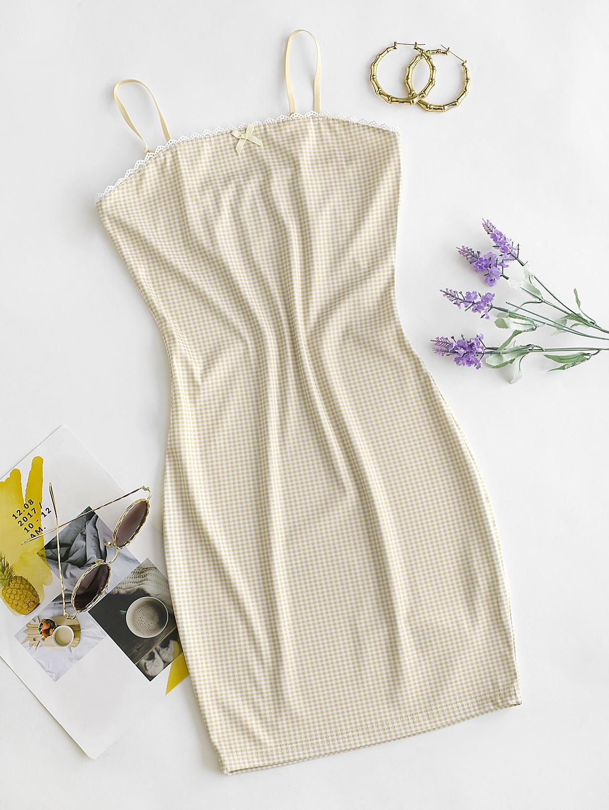 Gingham Crochet Insert Bowknot Bodycon Dress