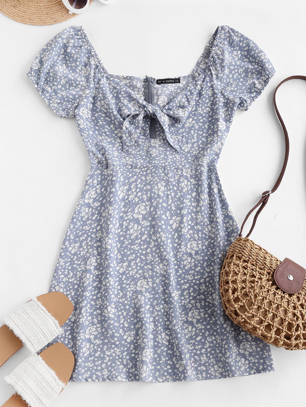 Ditsy Print Tied Keyhole Mini Dress
