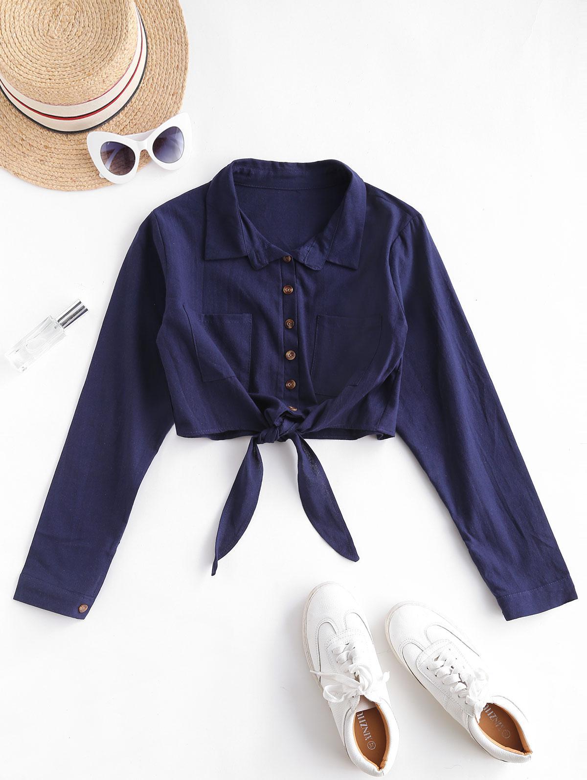 Pocket Tie Hem Crop Shirt