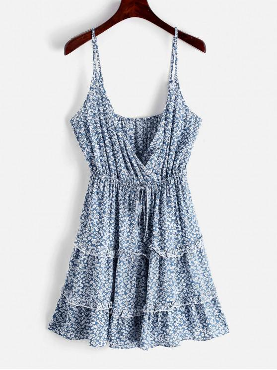 fashion ZAFUL  Ditsy Print Tiered Surplice Sundress - OCEAN BLUE XL