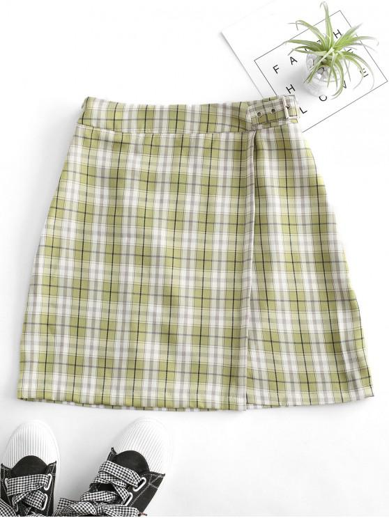 outfit Plaid Buckled A Line Skirt - MULTI-B M