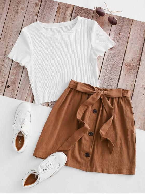 outfits Ribbed Button Down Two Piece Dress - BROWN M