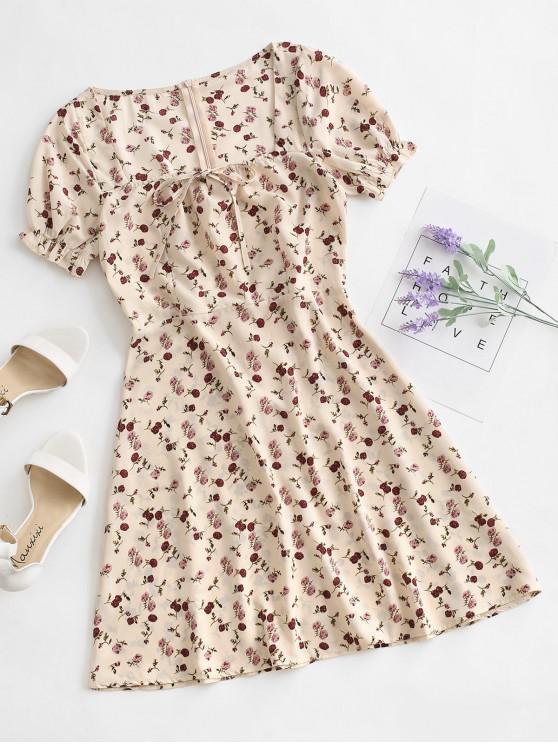 shops Tie Collar Ditsy Floral Milkmaid Mini Dress - BROWN SUGAR M