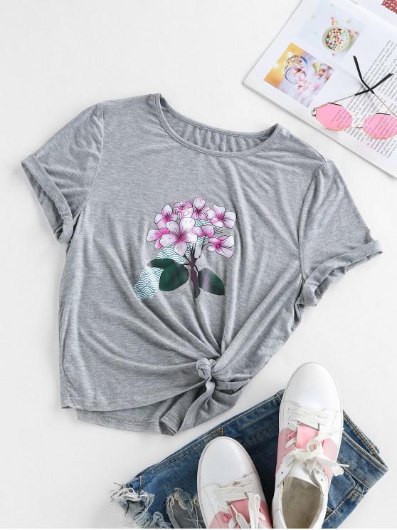 buy ZAFUL Flower Print Heather Short Sleeve T-shirt - BATTLESHIP GRAY M