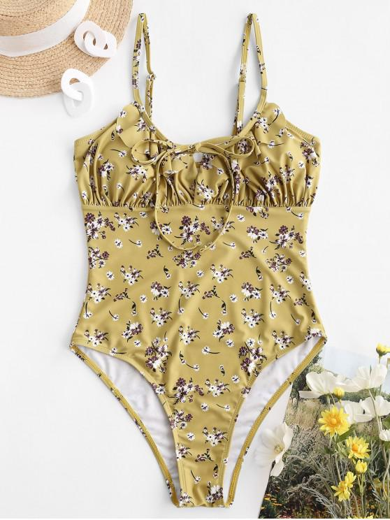 hot ZAFUL Ditsy Print Tie Ruffle One-piece Swimsuit - GOLDENROD S