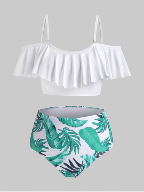 chic ZAFUL Plus Size Tropical Leaf Flounce Overlay Bikini Swimwear - WHITE 4XL