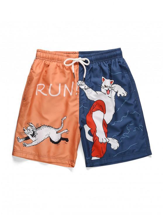 Cartoon Cat Print Colorblock Beach Shorts - الطاووس الأزرق S