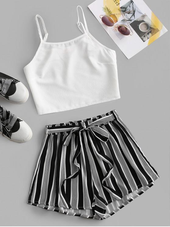 fashion Waist Tie Striped Two Piece Set - BLACK M