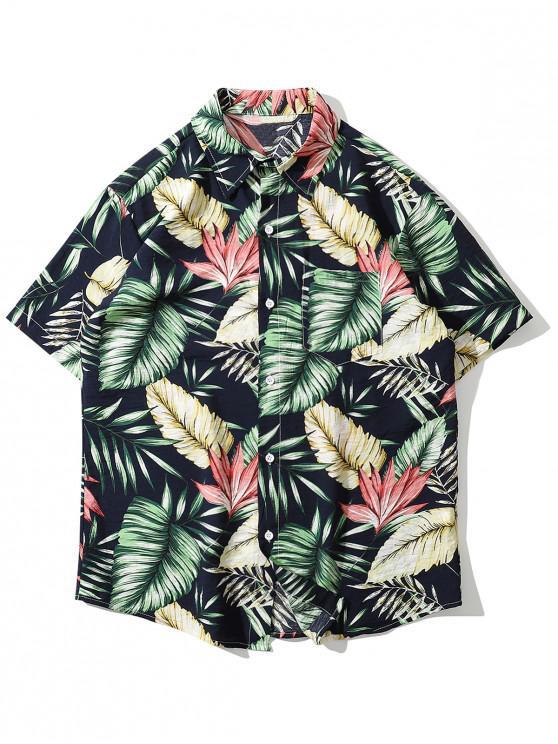Hawaii Tropisches Blattruck Strand Hemd - Grün XL