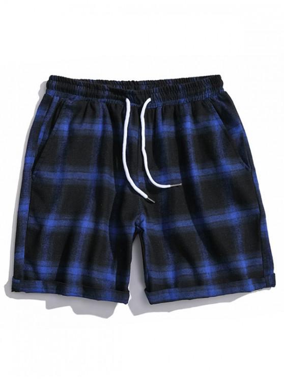 Șnurul Pantaloni scurți casual Plaid - Albastru L