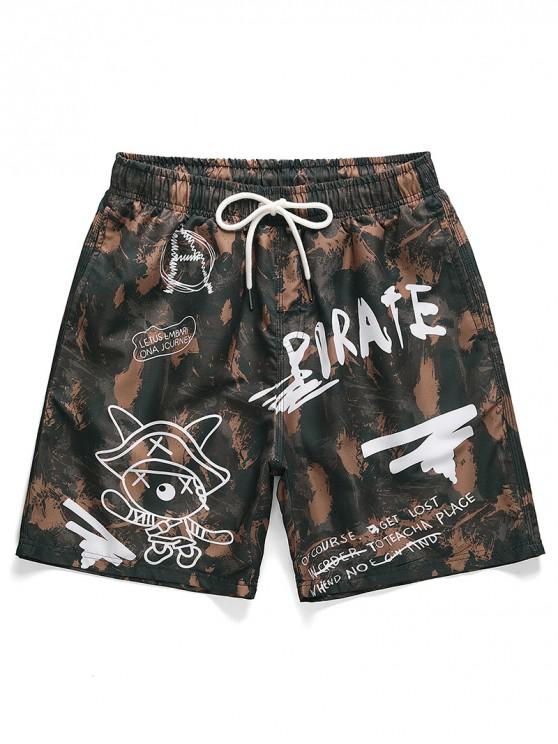 lady Letter Graphic Printed Casual Shorts - PUCE M