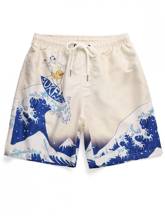 Cordon japoneză Wave Print Beach Shorts - Albastru oceanic M