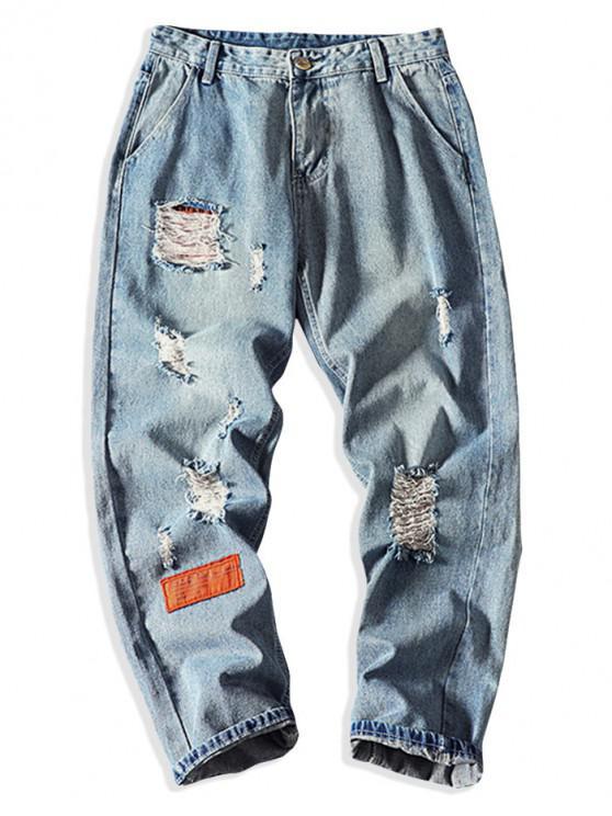 Jeans Rectos Rasgados Mosaico - Azul claro M