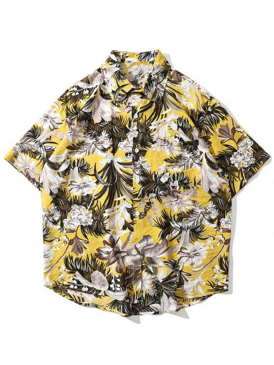 women's Floral and Leaves Print Pocket Shirt - YELLOW 2XL