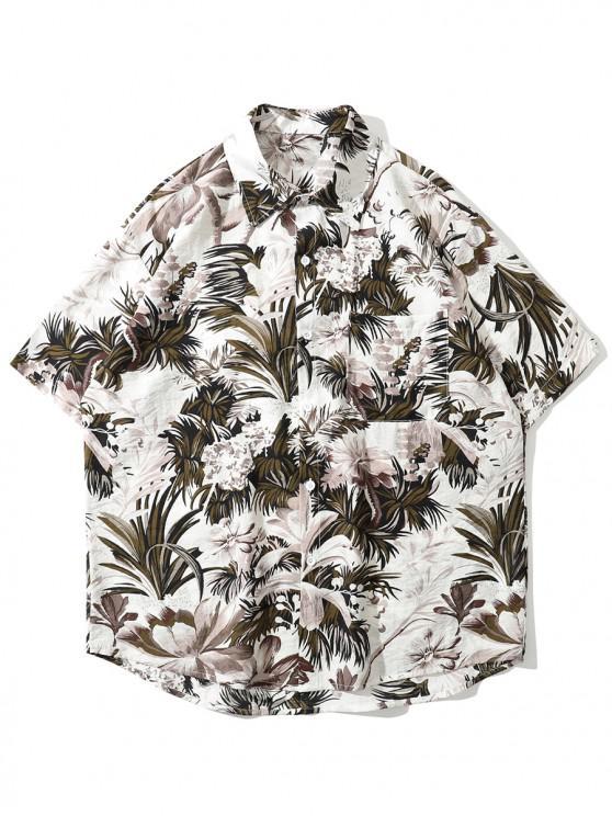 Camisa Floral y Hojas - Blanco L