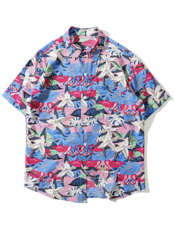 Tropical Flamingo Shirt Print buzunar - Trandafir rosu 2XL