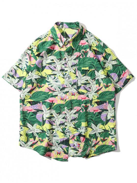 Camisa Tropical con Estampado de Flamenco con Bolsillo - Verde 2XL