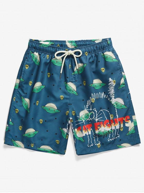 Cartoon Space Ship Print Drawstring Shorts - Blueberry Blue S